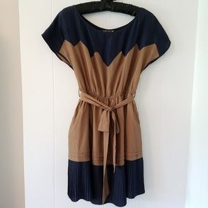 {Blue} Pleated Dress S